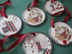 More tin can ornaments - I bet you can use wrapping paper too!