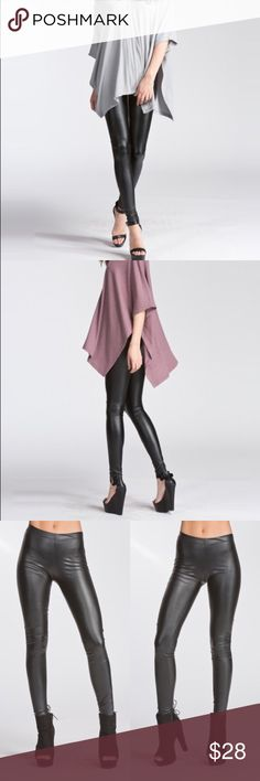 !Faux leather leggings🌟 Perfect for winter and fall🌹 This leggings are made with heavyweight pleather fabric that has a smooth matte finish, stretches very well.   ✅ fitted leggings  ✅elastic at waist  ✅not sheer ✅ Material: 92% Polyester, 8% Spandex ✅ size S : 0-4              M : 6-8 Pants Leggings