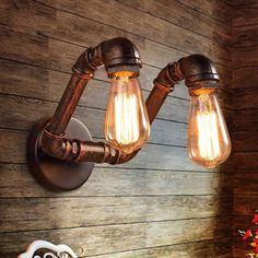 Retro Ac90-220v apliques lámpara de pared de la tubería industrial loft Edison del bulbo de la iluminación del hogar de la vendimia para bar salón
