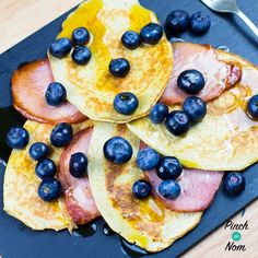 Low Syn Bacon, Maple and Blueberry Pancakes | Slimming World