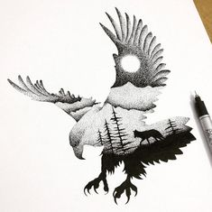 Illustrator and graphic designer Thiago Bianchini reveals a deep reverence for the mystical majesty of the animal kingdom in thousands of intricate ink markings. Inspired by double exposure Natur Tattoos, Kunst Tattoos, Tattoo Drawings, Art Drawings, Drawings Of Eagles, Weird Drawings, Sketch Tattoo, Art Sketches, Wolf Tattoos