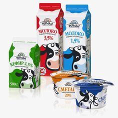 Разработка логотипа и дизайн упаковок торговой марки Ферма №1. Cute Russian dairy product #packaging : ) PD