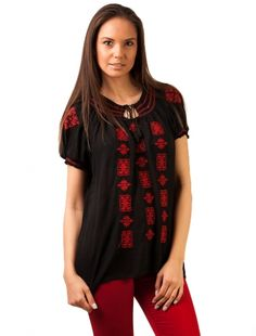 Bluza Panza Love Traditional Embroidery Black&Red - Bluza Panza Love Traditional Embroidery Black&Red - Zenda