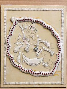Mysore Painting, Kerala Mural Painting, Tanjore Painting, Indian Art Paintings, Your Paintings, Krishna Drawing, Krishna Painting, Krishna Art, Stone Painting