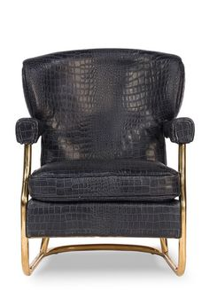 Pictures of Black Croc and Brass Arm Chair