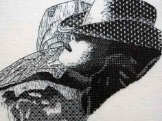 Jessica Aldred - Gallery Blackwork This is gorgeous Jess X Blackwork Embroidery, Embroidery Fabric, Vintage Embroidery, Portrait Embroidery, How To Shade, Contemporary Embroidery, Thread Art, Modern Cross Stitch, Felt Art
