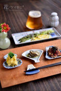 花ヲツマミニ 「アスパラの塩昆布エッグソース」 Japanese Dishes, Japanese Food, Picnic Dinner, Modern Food, Breakfast For Dinner, Daily Meals, International Recipes, Food Presentation, Clean Recipes