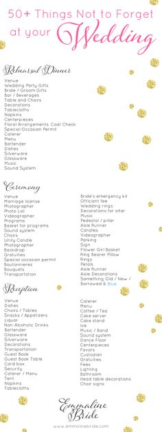 50+ Things Not To Forget At Your Wedding (checklist)