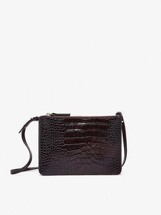 DOUBLE LEATHER CROSSBODY BAG WITH MOCK CROC FINISH- Massimo Dutti Crocs 9037b560a63e1