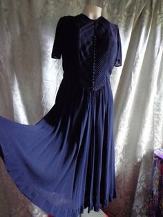 e544afa9f8 1930 s to 1940 s Dress chiffon navy blue with by vintagewayoflife Vintage  Clothing For Sale