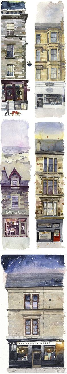 Watercolour buildings Wil Freeborn's Coffee Spots (you know it's Scotland instantly) Watercolor Sketch, Watercolor Illustration, Watercolor Paintings, Watercolors, Watercolor Trees, Watercolor Portraits, Watercolor Landscape, Abstract Paintings, Watercolor Architecture