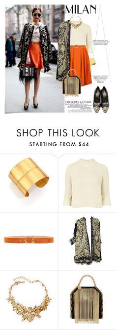 """Milan Fashion Week"" by aly-lynn ❤ liked on Polyvore featuring Post-It, Rene, Stephanie Kantis, Topshop, Dsquared2, Oscar de la Renta, STELLA McCARTNEY, La Femme and Versace"