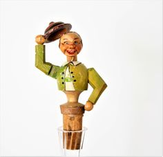 Vintage Movable Hand Carved Bottle Stopper Man with a Hat, Vintage Wine Cork,Vintage Anri Wine Stopper, Carved Wood Wine Cork, Italy by TheRoughGem on Etsy