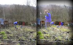 as1 - my new allotment, multiple exposure shots of me doing various jobs round it.