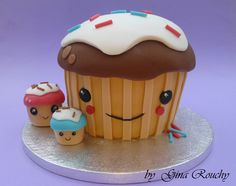 FOOLED YOU!  This isn't food, it's a polymar clay creation. Kawaii Cupcake Cake, by *ginas-cakes