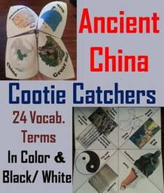 These cootie catchers/ fortune tellers are a great way for students to have fun while learning about Ancient China. How to Play and Assembly Instructions are included.These cootie catchers contain the following vocabulary terms: Confucius, Chang & Huang rivers, Silk road, Laozi, Analects, Yin and Yang, Records of the Grand Historian, Terra Cotta WarriorsANDXia dynasty, Shang dynasty, Zhou dynasty, Qin Dynasty, Han Dynasty, Six dynasties, Sui ...