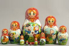 "10 Piece ""Vyatskaya Matryoshka"" Speckled Hen, number 62947 - 742 Курочка Ряба"