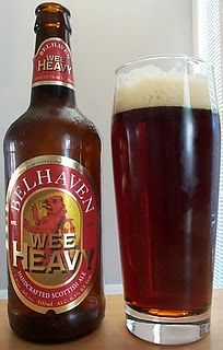 Ah, the Belhaven Wee Heavy.  You are magical. Nice darkish amber color with mild carbonation.  Sweet taste with hints of coffee/roasty flavors and some caramel swirled in.  Hop presence is mild but still lingers on tongue.  Very drinkable but probably would get pretty sweet tasting after two beers.  Get at BevMo and also try Belhaven's Stout and their flagship Scottish Ale.