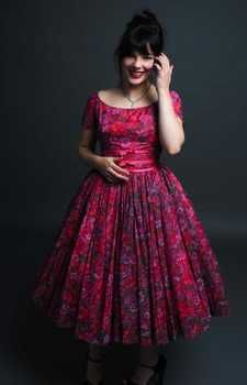 Adorable day dress - full circle skirt and boat neck from Forever Vintage