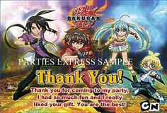 Bakugan Thank you cards / notes birthday party supplies
