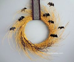 Golden Halloween Wreath » Made in a Day