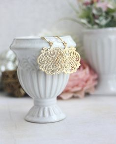 Gold Lace Filigree Boho Earring Bridal Moroccan Earring.