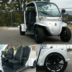 """2006 Gem e4 road legal golf cart. Modifications include full exterior paint job in Mercedes-benz Polar Silver line-xd floorboards dash pieces steering column and control panel bezel and side-step runners. We also installed 17"""" Motegi wheels to match the line-x and paint job. To finish off this beautiful piece of electric machinery we also added the diamond stitched upholstey and Momo steering wheel. Another work of art from us at Coastline Motorsport."""