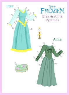 Disney's Frozen Paper Dolls: Elsa and Anna Pyjamas by evelynmckay