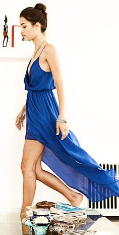 Blue wrap gown