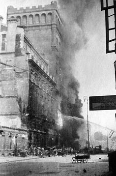 Warsaw, Poland: picture taken in 1944 shows the 'Pasta' building on fire during Warsaw Uprising - pin by Paolo Marzioli