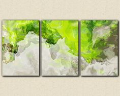 """Triptych abstract giclee canvas print with gallery wrap, 24x48 to 36x72 in chartreuse green and white, """"Lime Light"""""""