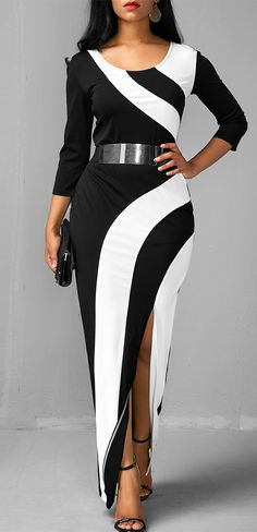 Side Slit Color Block Three Quarter Sleeve Dress, 2017 new, free shipping worldwide at rosewe.com.