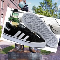 Black/White-Adidas Campus Vulc Low Skate Shoes HOT SALE! HOT PRICE!