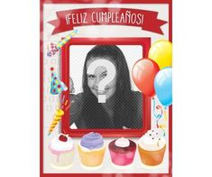Tarjeta de cumpleaños con marco de fotos rojo, globos y pasteles para - Fotoefectos Foto Pastel, Happy Birthday Cards, Bookends, Baseball Cards, Happy Birthday Photos, Birthday Cards For Kids, Pastel Balloons, Birthday Frames, Happy Birthday Greeting Cards