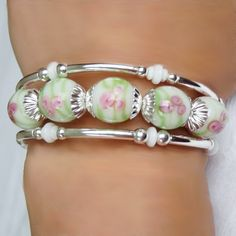 colored glaze wired bracelet