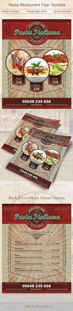 Customizable professional template for a restaurant flyer. Flyer Design Templates, Menu Design, Print Templates, Flyer Template, Bistro Design, Pizza Flyer, Pizza Menu, Restaurant Menu Template, Restaurant Flyer