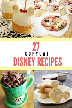 27 Copycat Disney Recipes - TGIF - This Grandma is Fun - - We've rounded up 27 copycat Disney recipes so that you can taste the magic in the comfort of your own home, while you plan your next trip to Disneyland! Disney Desserts, Easy Desserts, Disney Recipes, Dessert Recipes, Disney Dishes, Disney Snacks, Dessert Food, Delicious Desserts, Dessert Simple