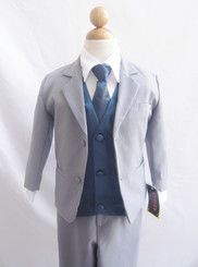 Boy Suit Gray with Blue Navy Vest for Ring Bearer Long Tie Easter Wedding $30