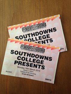 Tickets from my performance @ The Wedgewood Rooms, Portsmouth