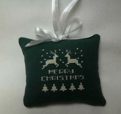 Reindeer Cross Stitched Ornament / Merry Christmas - pinned by pin4etsy.com