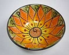 Ceramic Serving Bowl Clay Majolica Pottery by ClayLickCreekPottery