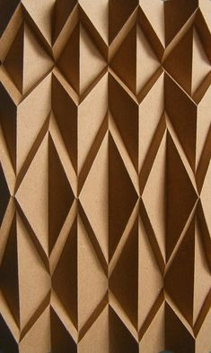 Applying some Ray Schamp's basic movements this came out. He probably made this sometime or included it in a part of one or many of his beautiful corrugations. Many thanks for the legacy and inspiration, Ray Schamp! Wall Patterns, Textures Patterns, Textures Murales, Paper Structure, Origami Paper Art, 3d Wall Panels, Paper Folding, Wall Cladding, Wall Treatments
