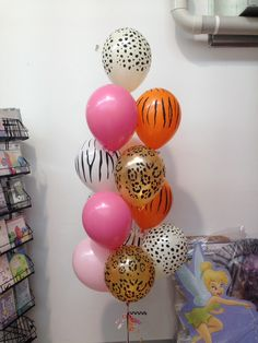 Jungle animal balloon decoration. Helium bouquet. Made by let's celebrate parties