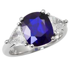 Royal Blue No Heat Burma Sapphire Platinum Engagement Ring | From a unique collection of vintage engagement rings at https://www.1stdibs.com/jewelry/rings/engagement-rings/
