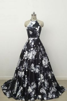 Cute black and white floral satin halter prom dress