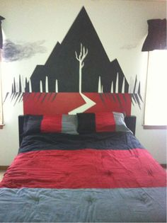 Sleeping With Sirens album bed??? Wtf? Awesome :)    ~ UMMMM THIS IS QUINN MATTHEW SALAS'S BEDROOM...  AND I JUST FOUND IT ON PINTEREST. And ummmm I helped make this :)