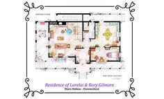 Artista desenha plantas das casas de seriados famosos.  Esta é a casa da Lorelai e da Rory, de Gilmore Gilrs!