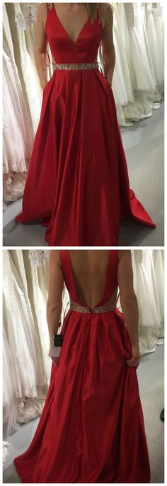 Red A-line V-neck Satin Prom Dresses,Long Beaded