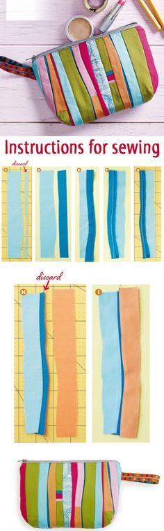 Zippered Bag Patchwork. Instructions for sewing  http://www.handmadiya.com/2015/04/zippered-bag-patchwork.html