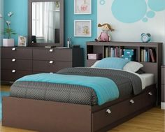Modern Kids Bedroom Furniture With Modern Blue Bedroom Design For Kids With Single Bed On The Wooden Divan Also Square Mirror Above The Brown Storage Modern Kids Bedroom, Kids Bedroom Sets, Kids Bedroom Furniture, Small Room Bedroom, Girls Bedroom, Bedroom Ideas, Small Rooms, Ikea Bedroom, Bed Room